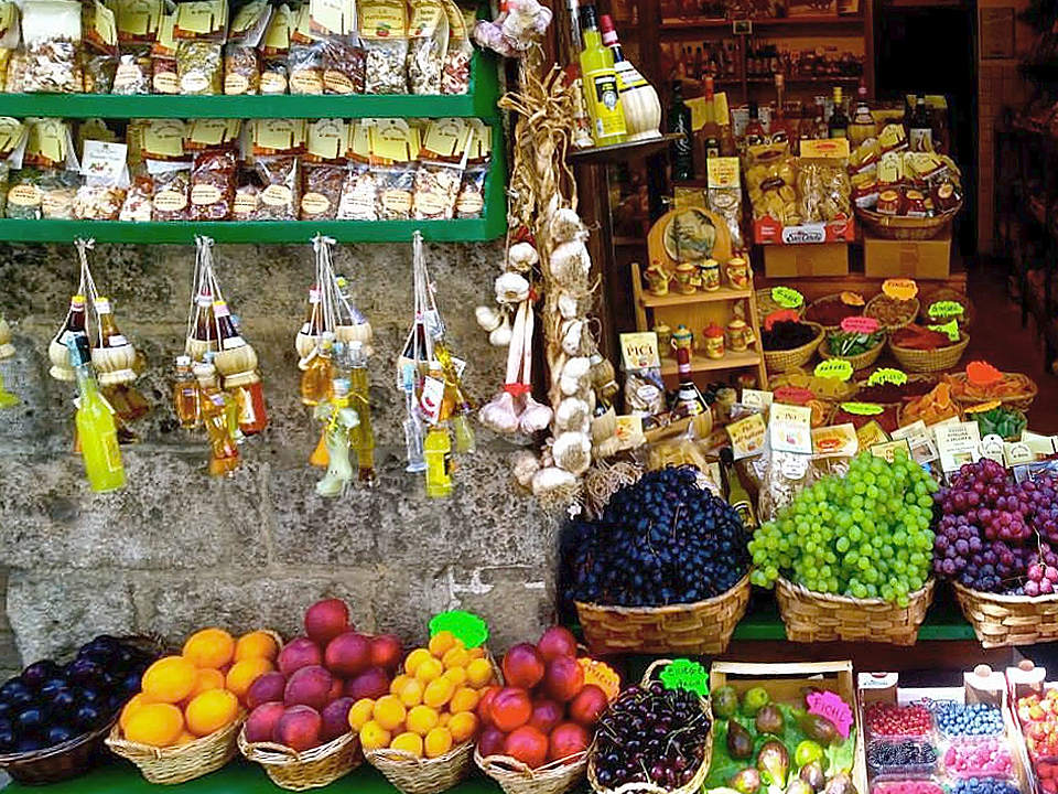 A small food shop of typical regional food in Tuscany